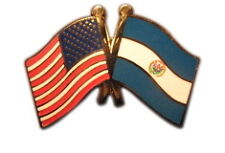 El Salvador Friendship with US Flag Lapel Badge Pin