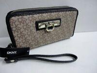 NEW DKNY Jacquard Canvas & Leather WALLET Wristlet Clutch Double Zip Black & Tan