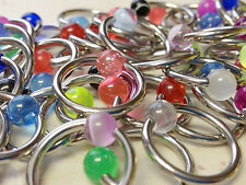 C#24 - 50pcs UV, Glow, Glitter Captive Bead Rings 14g Wholesale CBR Body Jewelry