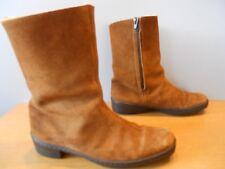 Vintage 1960s Clarks Suede Brown Winter Snow Heels Retro Boots Mod Boho Zipper 5