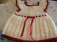 WHITE SHELLS~RED & HEART TRIMS CROCHET BABY DRESS 0-6 mos RED FLOWER buttons