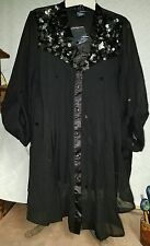 NEW DENIM 24/7 14 W BLACK SHEER 2 PC BLOUSE WITH SILVER SEQUINS