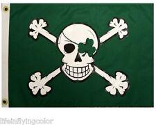 "Blarney Bones Boat Flag 12X18"" New Pirate Jolly Roger Irish Green"