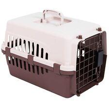 Pet Carrier Cage Dog Cat Kitten Puppy Travel Vet Transport Portable White Brown