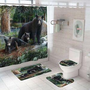 Bear Shower Curtain Set Thick Bathroom Rugs Bath Mat Non-Slip Toilet Lid Cover