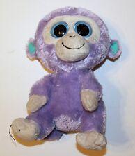 "Ty Beanie Boos Bean Bag Plush Stuffed Animal 9"" Blueberry Monkey Solid Eye Color"