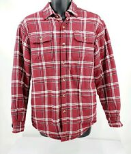 Wrangler Fleece Lined Plaid Flannel Work Shirt Insulated Button Down Maroon S