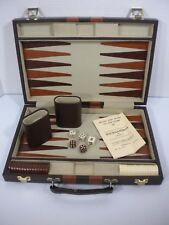 Classic Backgammon Set - Faux Leather Portable Case - Fast Free Shipping!