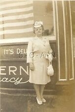 Vintage RP- Advertising- McGoverns Pharmacy- Woman- WWII American Flag- 1945