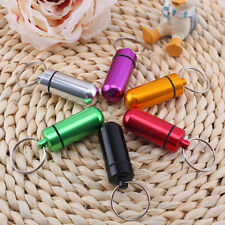 Waterproof Aluminium Pill Money ID Box Safe Drug Holder Case Keychain Keyring