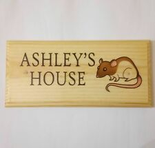 Personalised Rat / Mouse House Plaque / Sign -  Cage Pet Home Animal Enclosure