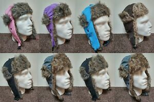UNISEX KIDS BOYS GIRLS WINTER WARM FUR LINED WATERPROOF RUSSIAN TRAPPER HAT