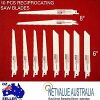 10 Pcs Reciprocating Saw Blade Set Wood Metal Sheet Pipe Blades Kit 6 10 18 tpi