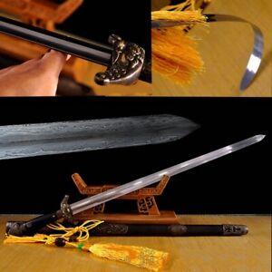 Hand Forged Refinings pattern steel Ridged Tai-chi soft sword BRASS Fittings1740