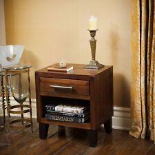Glendora Industrial Solid Wood Single Drawer Nightstand End Table