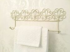 Pretty Shabby Chic Ivory Cream Towel Rail French Vintage Metal Bathroom Kitchen
