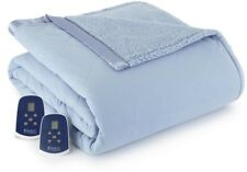 Electric Quilted Top Heated Blanket Reversible Sherpa Fabric King Wedgewood/Blue