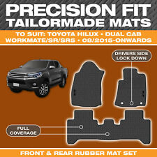 Custom Moulded Rubber Black Car Floor Mats for Toyota Hilux Dual Cab AUG/2015-On