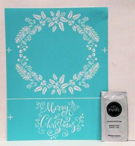 MERRY CHRISTMAS WREATH Transfer & Chalk Couture Chalk Paste Sample Holly
