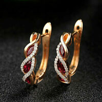 1.25Ct Marquise Cut Red Garnet & Diamond 14K Rose Gold Over Women Hoop Earrings