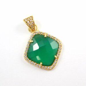 Pave Bezel Gemstone Necklace Pendant, Gold Plated Cubic Zirconia Pendant 17mm