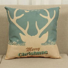 Cotton Linen Christmas Deer Pillow Case Cushion Cover Sofa Car Decor Xmas Party 6