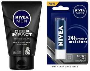 NIVEA Men Face Wash, Deep Impact,100Gm + Men Active Care Lip Balm,SPF 15, 4.8Gm