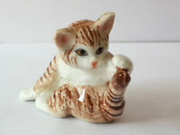 Handmade Dollhouse Miniatures Ceramic Porcelain Fat baby Tabby kitten Cat
