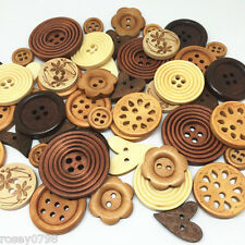 50 Rosey's Craft Special Edition of Natural Luxury Wood Embellishment Buttons