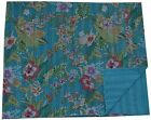 TURQUOISE KANTHA QUILT FLORAL COTTON BEDSPREAD BLANKET THROW COVERLET Ethnic