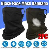2pc Bandana Sports Face Mask Cover Shield Neck Gaiter Scarf Tube Balaclava Black