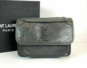100% AUTH Yves Saint Laurent Niki Medium In Crinkled Vintage Shoulder Bag
