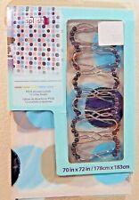 Splash Home Vinyl Peva Shower Curtain & 12 Roller Hooks Set Dab Multi-Colored