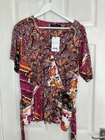 BNWT Next Women's Paisley Print Short Sleeve Jersey Top Size 18