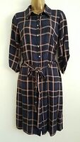 NEW M&Co Size 10-20 Navy Beige Check Tartan Print Shirt Dress Smart Casual Work