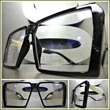 Mens or Women VINTAGE RETRO Style Clear Lens EYE GLASSES Square Black Gold Frame
