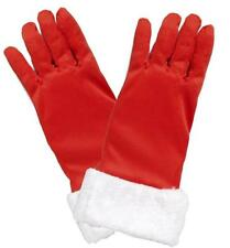 Christmas Gloves Ladies Red Polyester Wrist Length Dress Glove With Faux Fur OS