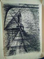 Rare grand dessin fusain géometrique abstraction lyrique années 40 - 50