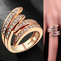 18K ROSE GOLD GF WOMENS INFINITY ANGEL WING CRYSTAL WEDDING DRESS BAND RING GIFT