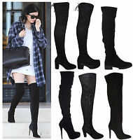Ladies Womens Over The Knee Boots Suede High Heel Block Thigh Lace Size Shoes