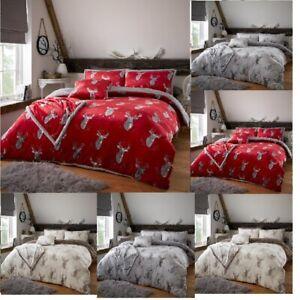 Teddy Bear Fleece Murray Stag Luxury Duvet Cover Set Cosy Warm Soft Bedding Sets