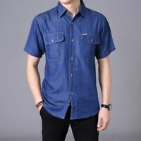 Mens Denim Shirt Cotton Working Jean Top Baggy Casual Short Sleeve Plus Size Tee