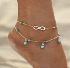 Turquoise Bead Anklet Bracelet 40-10 Fashion Jewelry Gold Double Layer Infinity