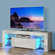 TV Schrank Lowboard Fernsehtisch Unterschrank mit LED-Beleuchtung Weiß Hochglanz