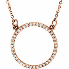 Diamante Petite Círculo Diseño 40.6cm Collar en 14k oro rosa (1/5 CT. TW