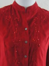 Lovely SAG HARBOR Womens PM Red Faux Suede Shirt Button LS Embellished Sparkle