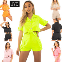 WOMENS Cargo Utility Crop Top and shorts set pocket  Co Ord JUSTYOUROUTFIT 715