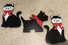 Vintage wooden 2 black cats 1 black scottie dog red bandana red bows Taiwan