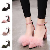 Lady Women Fluffy Fur Ankle Strap Block High Heel Party Pointed Toe Shoes Sandal