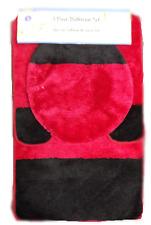 High Pile 3 Piece Bathroom Set Bath Mat Contour Rug & Lid Cover - Red & Black